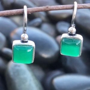 Sundance sterling Silver EARRINGS green onyx stone